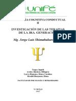 PSICOLOGÍA COGNITIVA CONDUCTUAL II TERAPIAS DE 3 GENERACIÓN