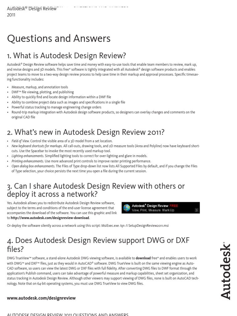 Questions and Answers: 1  What is Autodesk Design Review?