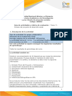 Guia de actividades y rúbrica de evaluación - Tarea 5 - Síntesis del proyecto de desarrollo social.