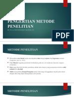 PENGERTIAN METODE PENELITIAN (KULIAH 2)
