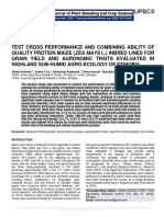 TEST CROSS PERFORMANCE AND COMBINING ABILITY OF QUALITY PROTEIN MAIZE (ZEA MAYS L.) INBRED LINES FOR GRAIN YIELD AND AGRONOMIC TRAITS EVALUATED IN HIGHLAND SUB-HUMID AGRO-ECOLOGY OF ETHIOPIA