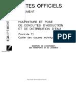 Fascicule 71 - Fourniture et pose des conduites d'adduction et de distribution d'eau.pdf