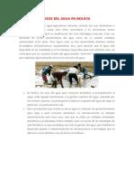 usos del agua en Bolivia
