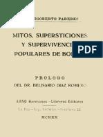 Mitos, supersticiones y supervivencias populares de Bolivia by M. Rigoberto Paredes  1870-1940