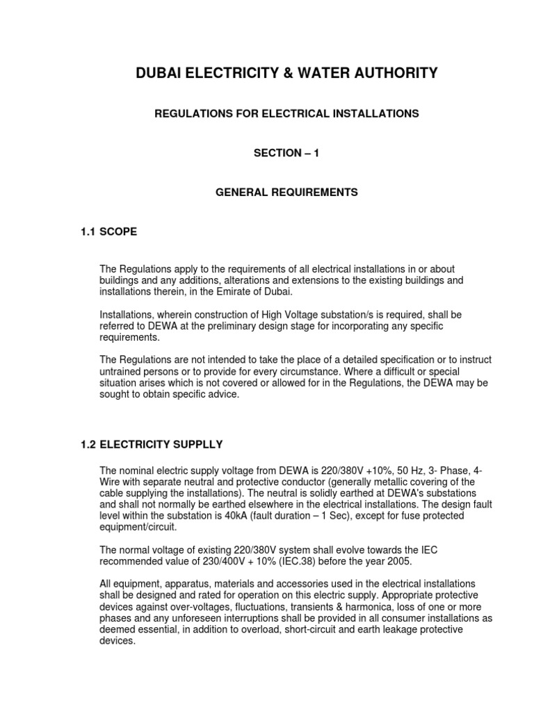 DEWA REGULATIONS FOR ELECTRICAL INSTALLATIONS | Electrical Wiring ...