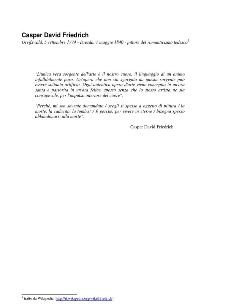 Vita E Opere Di Caspar David Friedrich