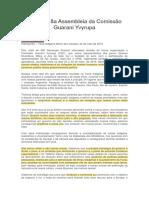 Carta da 8a Assembleia da Comissão Guarani Yvyrupa formação questão povos da floresta