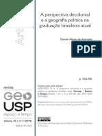 A perspectiva decolonial e a geografia política