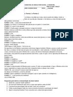 AVALIAÇÃO BIMESTRAL DE LÍNGUA PORTUGUESA 7º A