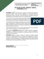 ANEXO 35. POLITICA DE NO ALCOHOL