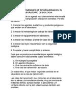 NORMAS GENERALES DE BIOSEGURIDAD EN EL LABORATORIO DE BIOLOGIA