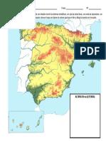 TEMA 8 - FICHA MAPA MUDO FISICO DE ESPAÑA - SANTILLANA