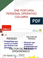 CAPACITACION HIGIENE POSTURAL ADECCO OPERATIVOS  ENFASIS COLUMNA