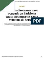 Vivienda _ Un incendio en una nave ocupada en Badalona causa tres muertos y una veintena de heridos - El Salto - Edición General