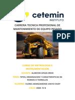 TIPOS, DESIGNACION Y CARACTERISTICAS DE LOS PERNOS JHAYO FLORES MEP 2020 4B