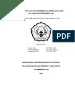 PENGERTIAN DAN CONTOH PENERAPAN ASPEK LEGAL ETIK DALAM KEPERAWATAN ANESTESI. Disusun untuk Memenuhi Tugas Etika dan Aspek Legal.pdf