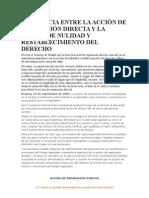 DIFERENCIA ENTRE LA ACCIÓN DE REPARACIÓN DIRECTA Y LA ACCIÓN DE NULIDAD Y RESTABLECIMIENTO DEL DERECHO