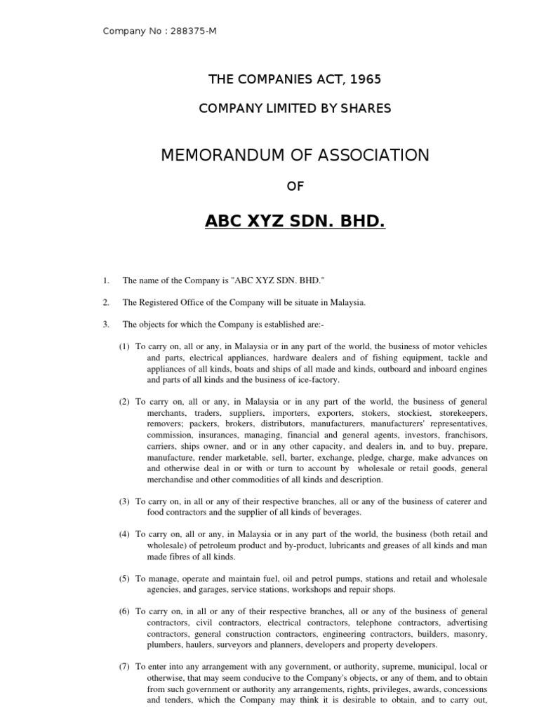 Memorandum & Article of Association, Companies Act 1965