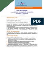 Projet de Grossesse Informations Messages de Prevention Examens a Proposer - Fiche de Synthese