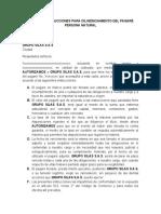 CARTA DE INSTRUCCIONES PARA DILIGENCIAMIENTO DEL PAGARÉ PERSONA NATURAL