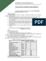 MEMÓRIA DE CÁLCULO DO VOLUME DA FOSSA SÉPTICA