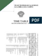 TIMETABLE (SEMESTER 2 2010-11) 4 Jan 2011