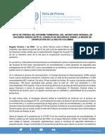 Nota de Prensa Publicación Informe UNVMC. Oct. 1 - 2020