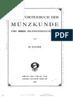 Handwörterbuch der Münzkunde und ihrer Hilfswissenschaften / von H. Halke