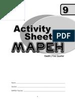 Activity Sheet Health 1