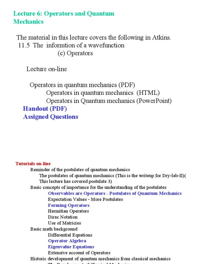 Wave Function In Quantum Mechanics Pdf