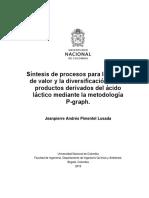 Síntesis de procesos para la adición de valor y la diversificación de los productos derivados del ácido láctico mediante la metodología