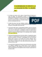 Base Legal de Vulnerabilidad de Derecho a La Libertad o a La Igualdad en Peru y El Mundo