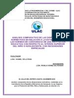 Análisis comparativo de las disposiciones normativas necesidades educativas especiales