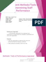 Assessment Methods / Tools in Employee's Apraisal