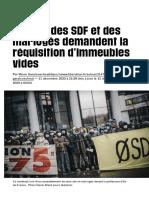A Paris, des SDF et des mal-logés demandent la réquisition d'immeubles vides - Libération
