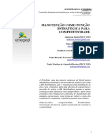 Manutenção Como Função Estratégica Para Competitividade