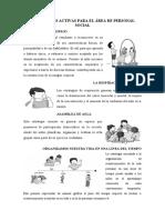 ESTRATEGIAS ACTIVAS PARA EL ÁREA DE PERSONAL SOCIAL
