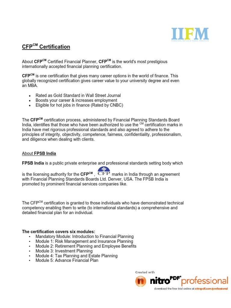 Cfp Regular Professional Certification Business