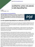 Nave Spaziale Spaceship Two_ Primo Volo Planato Solitario Effettuato Dalla Spaceship Two - 2010-10-20