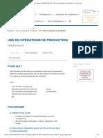 Formation OHSE_EXPSECOP HSE en opérations de production - Ifp Training