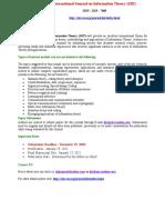 International Journal on Information Theory IJIT