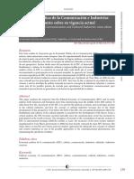 Economía Política de La Comunicación e Industrias Culturales. Apuntes Sobre Su Vigencia Actual