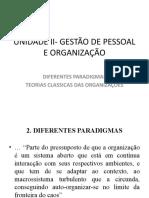 UNIDADE II. TEORIAS ORGANIZACIONAIS