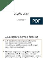 UNIDADE VI. GESTÃO DE RH