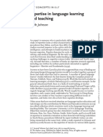 Johnson (2009) Expertise in lang learning and teaching
