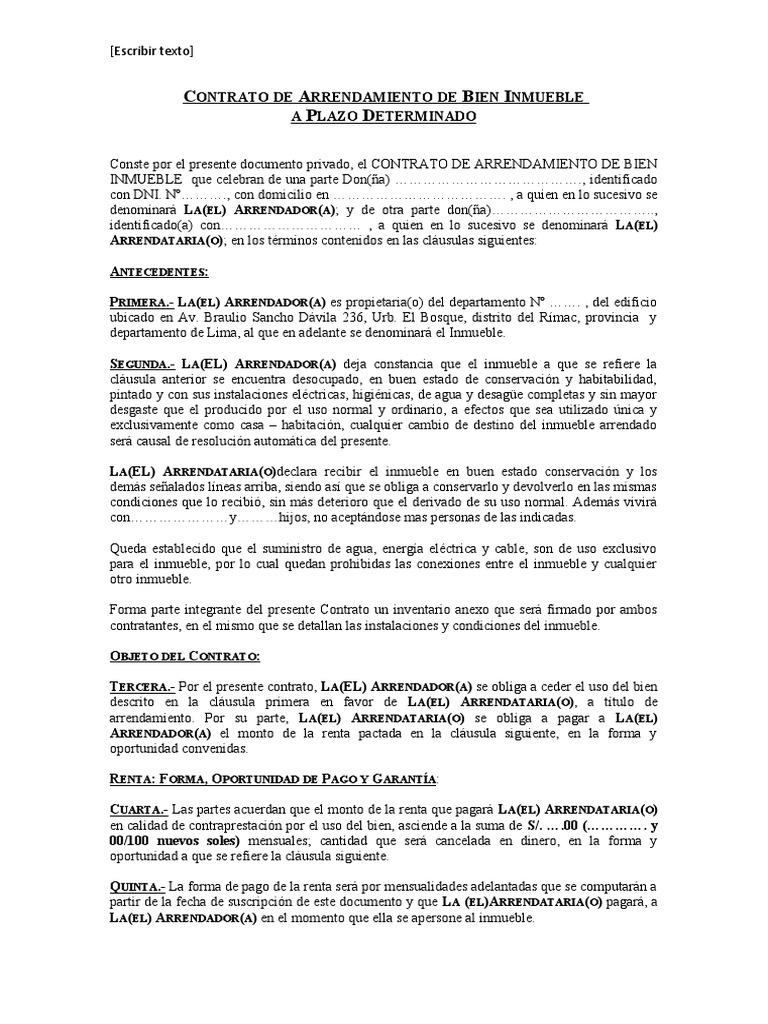Modelo de contrato de arrendamiento de bien inmueble for Arrendamiento de bienes muebles ejemplos