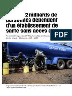 Près de 2milliards de personnes dépendent d'un établissement de santé sans accès à l'eau - Libérati