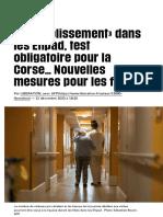 «Assouplissement» dans les Ehpad, test obligatoire pour la Corse… Nouvelles mesures pour les fêtes -