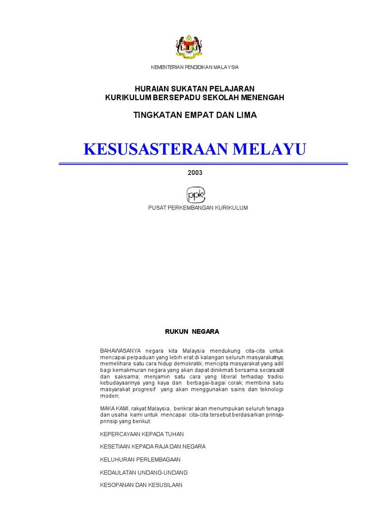 Kesusasteraan Melayu Tingkatan 4 5 1 Pertanyaan Integritas