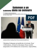 Jérôme Salomon a un caillou dans sa censure - Libération
